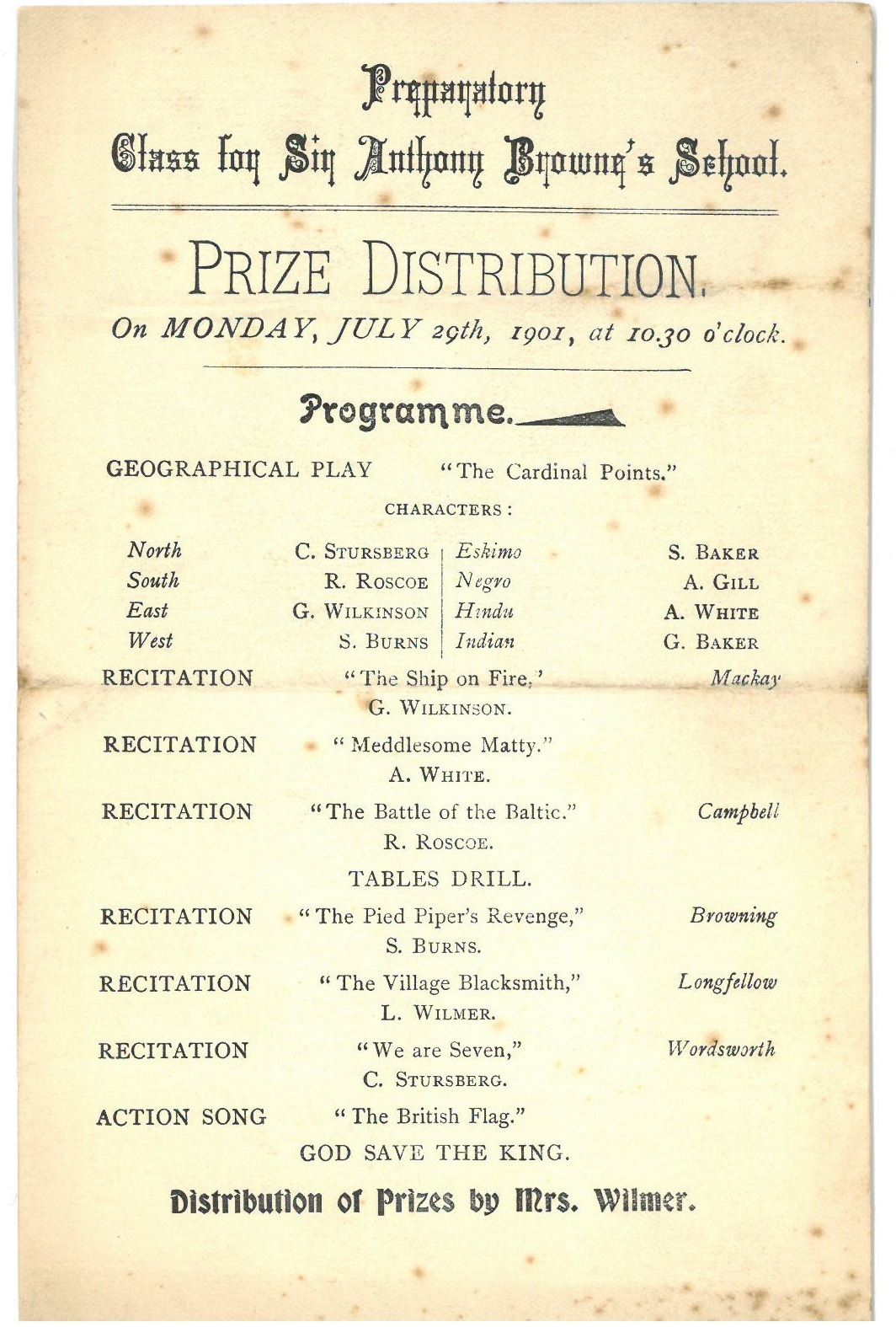Prize giving 1901